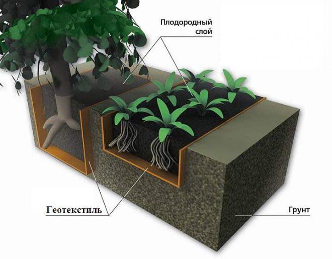 Применение геотекстиля для ограничения роста корней растений