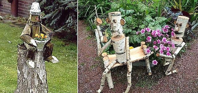 садовые фигурки из пней