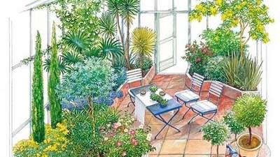композиции из растений в зимнем саду - фото